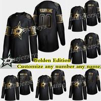 Dallas Estrelas Golden Edition 14 Jamie Benn 91 Tyler Seguin 16 Joe Pavelski 30 Ben Bishop Personalize qualquer número qualquer nome de hóquei nome