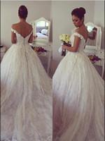 베스트 셀러 레이스 볼 가운 Vestidos de Noiva 신부 드레스 예배당 훈련 촉진 핸드 메이드 꽃 멋진 신부 가운