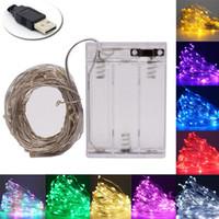 Peri Işık Dize USB Akülü Güçlü Su Geçirmez 2 M 5 M 10 M 20 100 Leds Dize Gümüş Çizgi Firefly Tatil Işık Şeridi