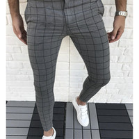 Ekose Kasetli Tasarımcı Kalem Pantolon Moda Doğal Renk Capris Pantolon Günlük Stil Erkek Pantolon Erkek Giyim