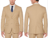 Brand New Beige Classic Style Two Button Groom Tuxedos Notch...