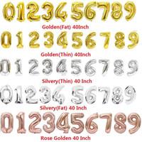 2020 40 Inç Helyum Hava Balonu Uçucu Numarası Şekilli Altın Gümüş Gül Şişme Balonlar Doğum Günü Düğün Dekorasyon Olay Parti L192