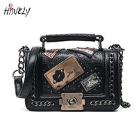 HISUELY Vintage Letter Women Fashion PU Leather Handbags Cro...