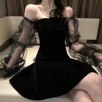 Gotik Seksi Elbise Vintage Kapalı Omuz Lanter Kol Mesh Patchwork Kadife Mini Elbise Koyu Sokak Grunge Siyah Elbise İçin Kadın