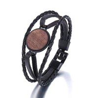 Bracelets Charm 2021 Многослойный браслет Мужская повседневная мода тканые кожаные деревянные панк-рок черный ювелирные изделия подарок