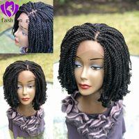 Мода черный / коричневый / блондин / ломбера цвет Плетеный кудрявый парик твист ручной короткий плетеный парик для черных женщин. Micro твист парик с фигурными наконечниками