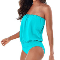새로운 섹시한 솔리드 컬러는 수영복 여 끈이 없는 한 조각의 수영복 여성 수영복 플러스 사이즈