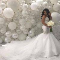 Arabisch Naher Osten Mermaid Brautkleider 2019 Sweetheart Perlen Spitze Gericht Zug Brautkleider Lange Brautkleider