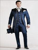 New Longo Padrão Borde Groomsmen mandarim lapela noivo smoking Homens ternos de casamento / Prom / Jantar melhor homem Blazer (jaqueta + calça + gravata + Vest) 272