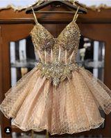 2019 Şampanya Boncuklu Kristaller Mezuniyet Elbiseleri Spagetti A-Line Dantel Mezuniyet Elbiseleri Kısa Seksi Kokteyl Parti Abiye