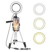 7.9inch LED Light Ring Photo Studio Caméra Lumière Photographie Dimmable lumière vidéo pour Youtube selfie de maquillage avec support de trépied de téléphone