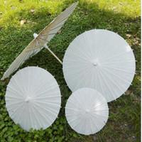 Quadro China Japão Paper Umbrella tradicional Parasol Bamboo Wedding punho de madeira Guarda-sóis Branca Artificial Umbrellas 60 centímetros LXL1197-1
