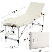 WACO Portable SPA Bed, 3 Sections Massage Facial Beauty Furniture, Folding Aluminum Tube Adjustable Headrest, Body Building Salon Table Kit - White