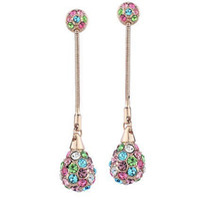 Classical 18K Rose Gold Plated Water Drop Stud Earrings Genuine Austrian Crystal Fashion Costume Women Earrings Jewelry Wholesale for women