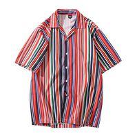 Los hombres de Hawai 2020 Camisa de Hip Hop de Calle Azul Blanco Rojo camisa de la raya de Harajuku camisa de la playa de verano de manga corta Tops