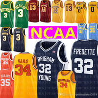 Brigham Young Cougars 32 Jimmer Fredette Jersey Maryland 34 Len Bias Universidad bordado baloncesto jerseys baratos al por mayor