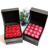 d0ec7a8c255d Caja cuadrada creativa del collar de la joyería del cajón del día de San  Valentín Caja de regalo de la flor eterna de las lanas de madera doble