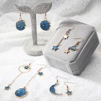 Girls Heart Blue Stars Moon Planet Ear Polsino Polsino Orecchini Piccolo orecchino di moda asimmetrico lungo fresco