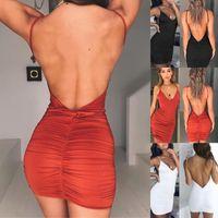 Günlük Elbiseler Seksi Bayan Yaz Backless Yüksek Drated Ince Bandaj Bodycon Akşam Parti Kısa Mini Elbise