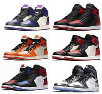 Scarpe da basket Bred 1s Bred Toe Shadow 1 Pinnacle 1s Court Viola Chicago High OG GS Triple nero Spedizione gratuita Uomo Donna