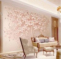 مخصص أي حجم جدار القماش الأنيق الفاخرة روز الذهب زهرة شجرة صور خلفيات غرفة المعيشة أريكة جدار ديكور المنزل 3D جدارية كبيرة
