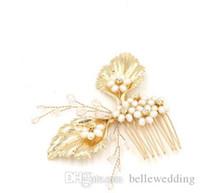 خمر الزفاف أغطية الرأس إكسسوارات الشعر الذهبي ليف مشط مع اللؤلؤ أحجار الراين النساء الشعر مجوهرات الزفاف مجوهرات BW-HP408