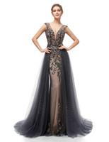 저렴한 인어 댄스 파티 드레스 2,020 섹시한 등이없는 전체 비즈와 얇은 명주 그물 Overskirt V 넥 공식적인 저녁 파티 가운 5406
