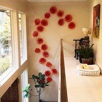 الإبداعية الأحمر زهرة لوحات مورانو زجاج الجدار مصابيح الفنون فيلا فندق الفن الديكور شنقا الإضاءة