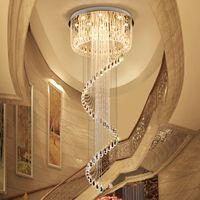 Candelabros de techo de cristal de alta gama K9 forma de giro de cristal candelabro led moderno iluminación lámparas colgantes para escaleras dúplex villa hotel hall