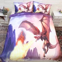 Fire- breathing Dragon Printed Bedding Suit Quilt Cover 3 Pic...