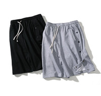 Erkek Tasarımcı Yaz Şort Pantolon Yan Düğme Tasarım Günlük Moda İpli Şort Spor High Street Koşu