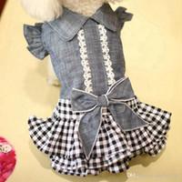Pet Denim Tutu Dog Dress Cat printemps vêtements d'été pour Cowboy Dog filles Petit chien moyen à manches bouffantes bowknot Robe