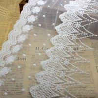 Malha guarnição do laço de fita de tecido requintado openwork bordado branco Cotton Lace material de casamento DIY Vestuário Costura Acessórios LB031