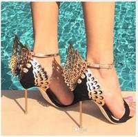 Venta de los zapatos-Sophia Webster Evangeline de novia caliente más el tamaño 42 Piel de Pink Glitter Mujeres de la mariposa sandalias