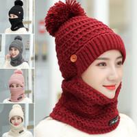 Kadın Örgü Fular Şapka Seti Kış Sıcak Katı Pom Yumuşak Venonat Beanie Kadın bayanlar tatlı şirin Caps Eşarplar