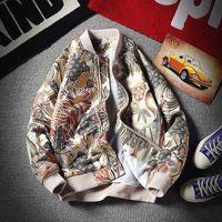Nuovo Autunno Bomber Streetwear Ricamato Fiore Pilot Jacket Hip Hop baseball Mens giacche e cappotti vestiti 5XL
