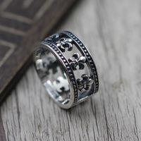 شخصية 925 الفضة الاسترليني المجوهرات والفضة العتيقة الطراز الأميركي يدوية الصنع حلقات مصمم فاسق خاتم زهرة عبر