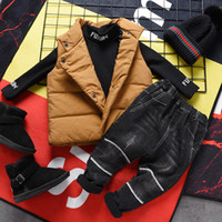 3PCS WLG boys winter clothing set kids turtleneck velvet ves...