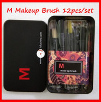 Hot 12pcs / Set M Maquiagem Escova Defina Face Creme Power Foundation Escovas multiuso Beauty Cosmetic Tool Brushes Conjunto com caixa