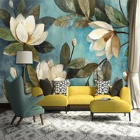 Deep Texture 3D Wallpaper White Lotus Retro Style Oil Painti...