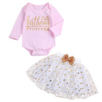 6dd893eb900d 2PCS Kids Clothes Toddler Kids Baby Girls Long Sleeve Letter Printed Romper  Jumpsuit+Dot Bubble Skirt Set Clothes Baby Set S12 F