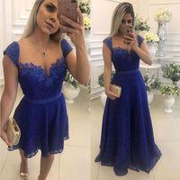 2019 Lindo Querida Neck Lace Applique Frisado Curto Prom Vestido Com Uma Linha Saia Destacável Azul Marinho Vestido de Baile