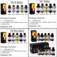 Apuramento V8 Big Baby 5ml Atomizador 4ml V8 X-Baby 3ml V8 bebê Sub Ohm Tanque com substituição Q2 M2 X4 Bobinas Chefe de Vape 510 Box Mod eCig Kit