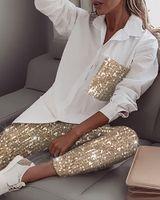 Frauen Pailletten Langarm Hemd Glitter Glänzende Hose Sets Casual Damen Zwei Teil Sets Trainingsanzug Weiße T-Shirt Anzüge