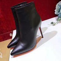 Großhandel heiße verkaufende neue Modedesigner der Frauen Ankle-Boots, eine Vielzahl von Arten von spitzen Seite Reißverschluss roten Sohlen sexy Damenstiefel