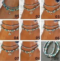 11 стиль богемной ножные браслеты женщины летний пляж Черепаха Дерево Жизни кулон ножные браслеты бусины Шарм браслеты для ног