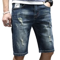 2019 Ripped Denim Shorts For Men New Fashion Style Slim Fit ...