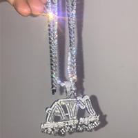 Hip Hop ATM Addicted To Dinheiro Diamante Combinação bolha carta pingente Colar Micro cobre pingente Cor Cubic Zirconia ouro