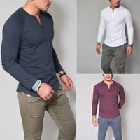 Mode Hommes Slim Fit à manches longues T-shirts de style Luxe Hommes col V en coton T-shirt Tops T taille plus S-XXXL