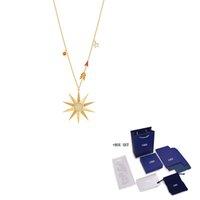 Lockets SWA LUCKY GODDESS STAR Necklace Shines The Sun Shape Crystal Female Fashion Jewelry Girlfriend Gift